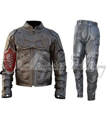 mens handmade batman dark night costume motorcycle leather jacket & pant suit
