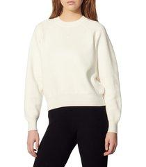 women's sandro positive message crewneck sweater, size 4 - white