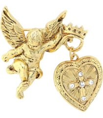 symbols of faith 14k gold-dipped crystal glory of the cross fob locket brooch