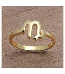 gold plated sterling silver band ring, 'golden capricorn' (indonesia)