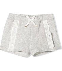 chloé grey cotton-blend shorts