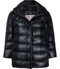 herno crop-sleeve padded jacket - black