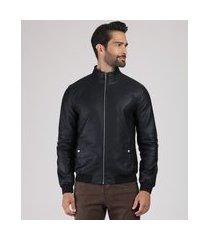 jaqueta masculina com bolsos gola alta preta