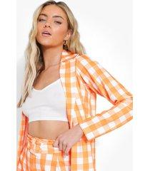 gingham blazer en shorts met ceintuur, orange