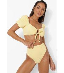 bikini broekje met hoge taille en textuur, lemon