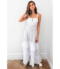 womens right tier right now broderie maxi dress - white