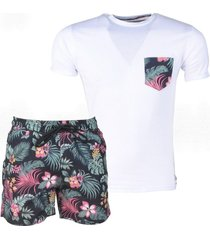 mz72 tweedelig set t-shirt en zwembroek tropical wit