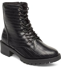 biaclaire laced-up boot shoes boots ankle boots ankle boots flat heel svart bianco