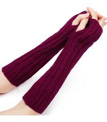 32 cm donna inverno maglieria tinta unita senza dita maniche calde mezze dita guanti