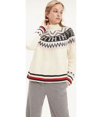 tommy hilfiger women's monogram turtleneck sweater snow white - s