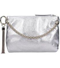 jimmy choo callie clutch in silver leather
