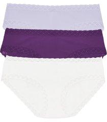 natori bliss girl brief 3 pack panty underwear intimates, women's, blue, microfiber, size xxl natori
