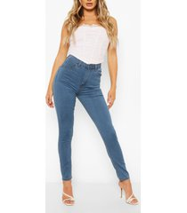 high waist stretch super skinny jeans, mid blue
