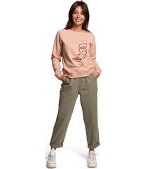 sweater be b167 pullover top met print voor - beige