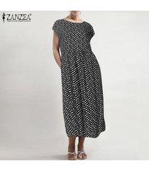 zanzea verano de las mujeres del cuello de o del lunar de las señoras del vestido de los vestidos más el tamaño de midi -negro