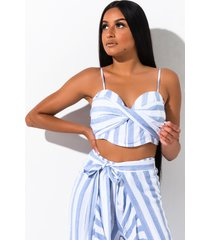 akira temporary love striped crop top