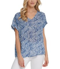 dkny jeans printed v-neck blouse