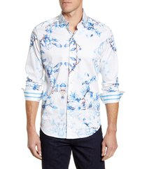 men's robert graham aiden classic fit button-up sport shirt, size xx-large - blue