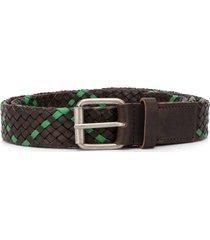 marni two-tone woven belt - brown