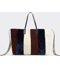 tommy hilfiger women's plush stripe tote, rainbow corporate - os