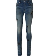 leather star patch jeans