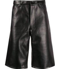 comme des garçons shirt faux-leather bermuda shorts - black