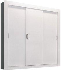 guarda-roupa solteiro édez ph1708, 1,70 m, 3 portas de correr, touch branco