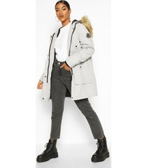 belted parka with faux fur trim hood, grey