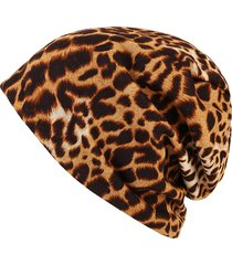 donna invernale beanie a leopardi a doppio uso sciarpa termica all'aperto