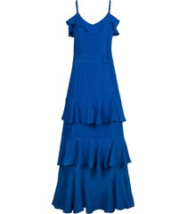 women's rachel rachel roy metallic ruffle tiered midi dress, size 12 - blue