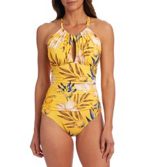 la blanca belle high neck mio one-piece swimsuit, size 10 in marigold at nordstrom