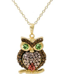 """giani bernini swarovski crystal owl 18"""" pendant necklace in 14k gold-plated sterling silver, created for macy's"""