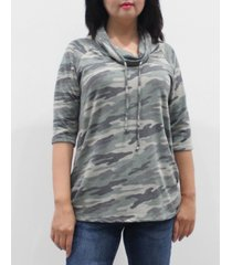 coin 1804 women's camo 3/4 sleeve cowl neck drawstring top