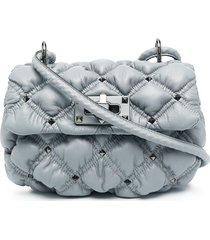 valentino garavani diamond quilt crossbody bag - grey