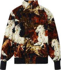 corduroy bomber jacket with 'kenzo horses' motif
