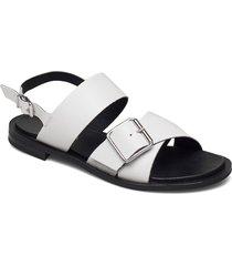biadarla cross sandal shoes summer shoes flat sandals vit bianco