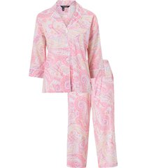 pyjamas lrl notch collar capri pant pj set 3/4