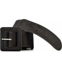 cinturón elástico con gamuza negro mailea