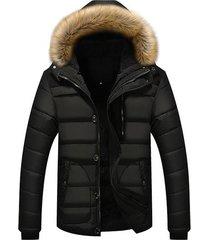 chaqueta invierno gruesa hombres casual capucha