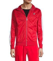 fila men's logo-print contrasting-sleeve jacket - red - size m
