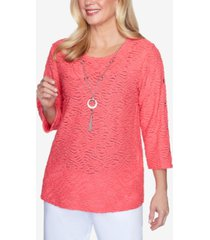 alfred dunner three-quarter sleeve solid grommet sleeve top with detachable necklace