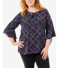 ny collection plus size plaid bell-sleeve top