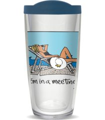 """freeheart """"i'm in a meeting at the beach"""" 16-oz. travel tumbler with lid"""
