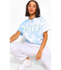 love slogan tie-dye t-shirt, blue