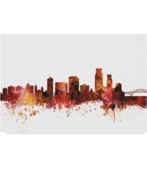 "michael tompsett corpus christie texas skyline red canvas art - 37"" x 49"""