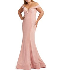 plus size women's mac duggal off the shoulder metallic trumpet gown, size 24w - pink