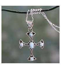 larimar cross pendant necklace, 'sacred memory' (india)