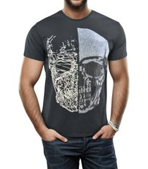 heads or tails men's half skull graphic printed rhinestone studded t-shirt