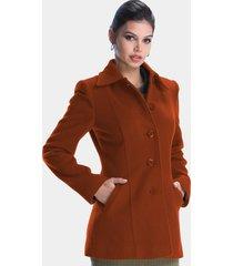 casaco lã belfast 3/4 laranja - kanui