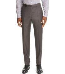 men's ermenegildo zegna trofeo wool twill dress pants, size 32 us/ 48 eu - brown